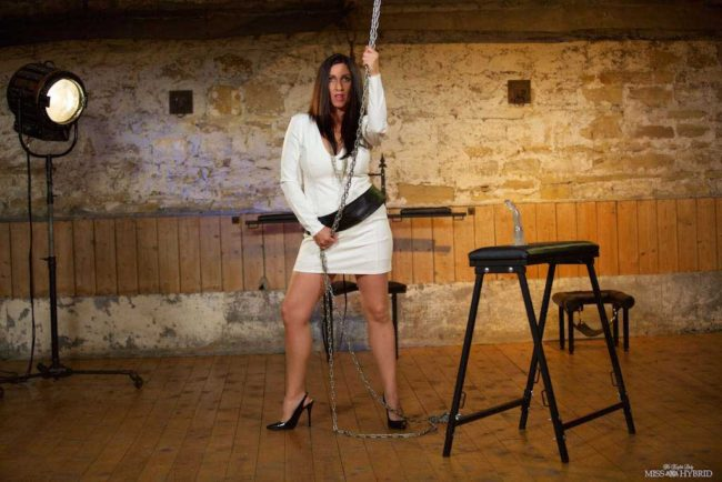 Sexy new dungeon update Miss Hybrid stunning white dress, tits out and high heels.