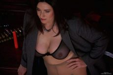 Miss Hybrid leather thigh boots, nylons and sheer bra rock hard nipples and dildo.